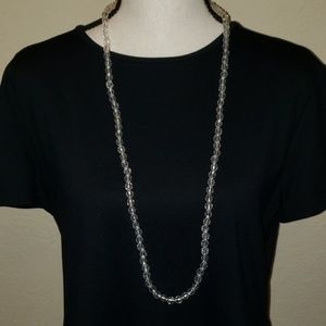 Candie's small clear beaded long necklace